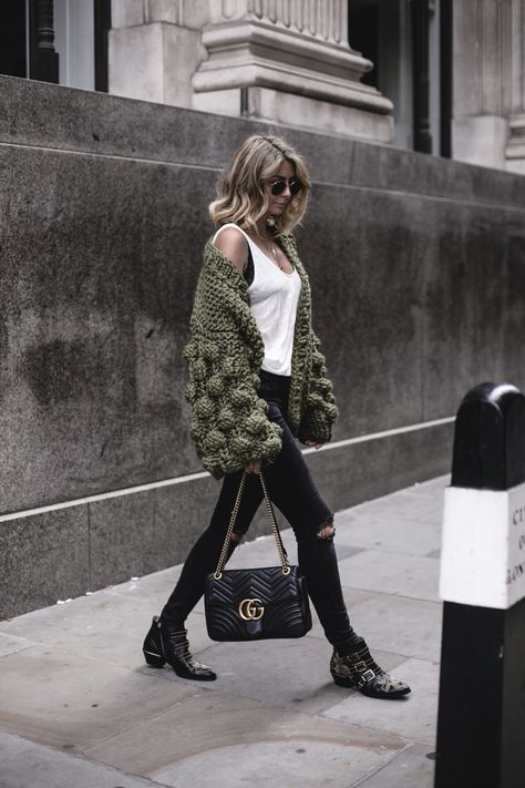Autumn: Mumshandmade chunky olive green cardigan+white linen vest top with black lace bra underneath + Gucci Marmont bag + black skinny jeans + Chloe Susanna boots EJ Style