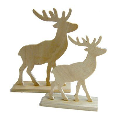 Wooden/MDF Reindeers.Plain unpainted unfinished (ready-to-decorate) flat wooden Bambi-style deer/reindeer on a small square base. Paint embellish or stain. Part of the animal/insect paintable range. Our snow effect paints (DecoArt) look great on this item. Suitable as an Xmas or Christmas craft item. Dimensions: 15 x 20cmSold as a SET of 2 x Reindeers