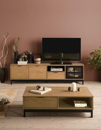 Meuble Tv Style Atelier Bronx 3 Portes 1 Tiroir Bois Massif Et Noir Meubles Tv But Decoration Meuble Tv Idee Deco Meuble Tv Decoration Meuble
