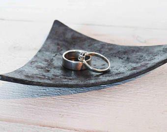 Iron Anniversary Gift Triangle Ring Dish Iron Ring Holder