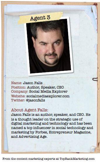 Bio for Secret Agent #3 No B.S. @Jason Falls  to see his content marketing secret visit tprk.us/cmsecrets