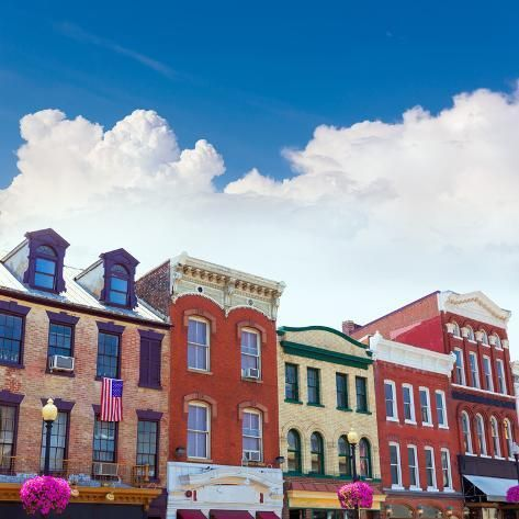 Photographic Print Georgetown Historical District Townhouses Facades Washington Dc In Usa By Holbox 16x16in Georgetown Facade Townhouse