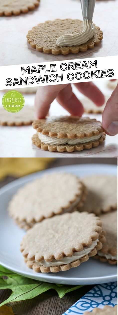 Maple Cream Sandwich Cookies // Seriously one of the BEST cookies I've ever had!  @inspiredbycharm