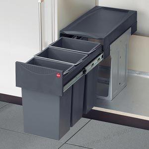 Kunststoff schwarz Hailo Big Box K/üchen-Abfalleimer One Size
