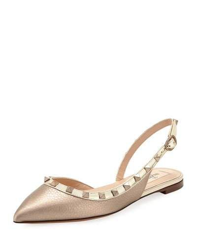 2afa82a1a3 Rockstud Metallic Leather Slingback Ballet Flats in 2019 | Products ...