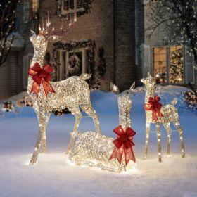 Member S Mark Set Of 3 Deer Family Reindeer Outdoor Decorations Outdoor Reindeer Lights Christmas Yard Decorations