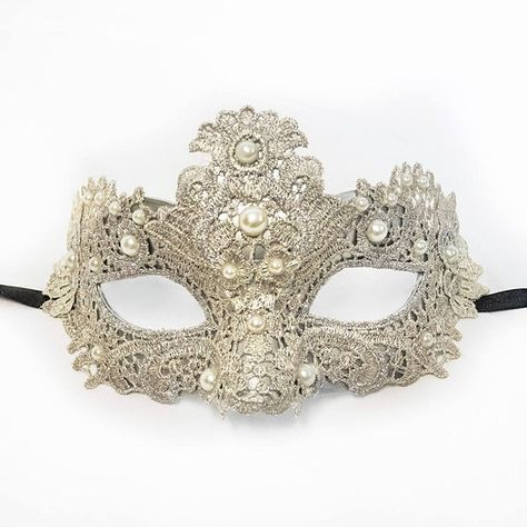 Ideal as a decoration! Silver net MASQUERADE MASK with looped silver ribbon trim and silver rose decorations Great for wearing