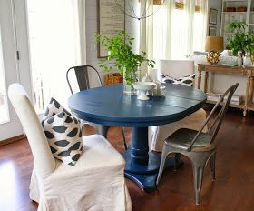 House Seven Design Build Navy Blue Dining Table Blue Dining