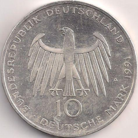Wertseite Munze Europa Mitteleuropa Deutschland Deutsche Mark 10 00 1991 Brandenburger Tor Deutsche Mark Deutschland Munzen Sammeln