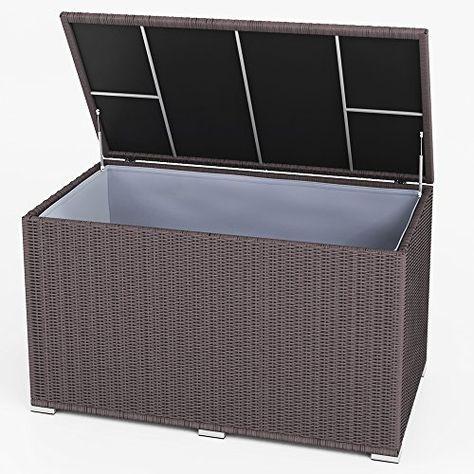 Xxl Kissenbox Wasserdicht Polyrattan 950l Anthrazit Auflagenbox Gartenbox Gartentruhe Aufbewahrungsbox Aufbewahrungsbox Gartentruhe Kissenbox