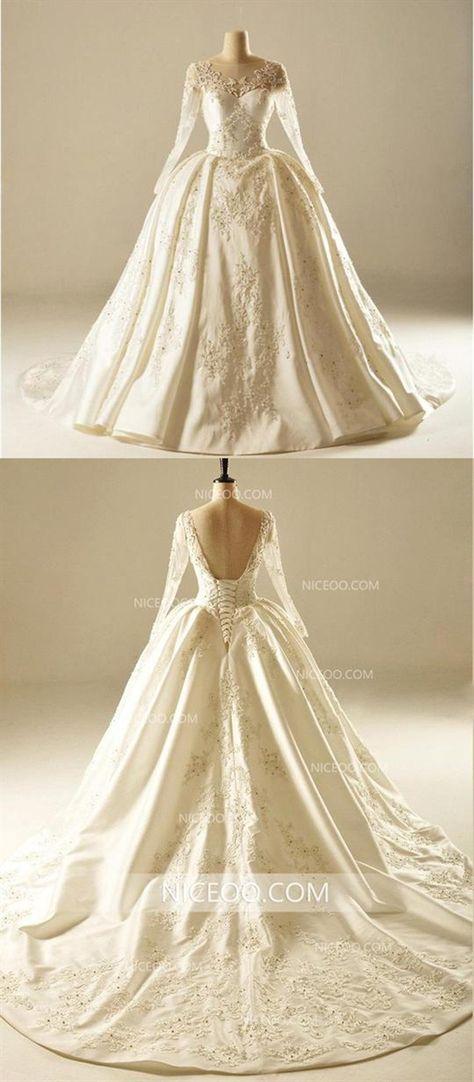 50f94477e901 Open Back Long Sleeves Sweetheart Satin Wedding Dresses Best Bride Gown