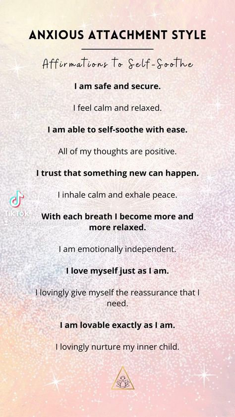 Powerful positive affirmations to self-soothe when feeling anxious in your relationship or if you have anxious attachment style. Listen to this meditation for 21 days.