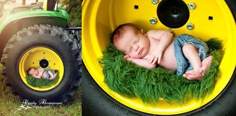 STOP IT NOW.   John Deere tractor, newborn, baby boy, photography, Cindy Thompson Photography