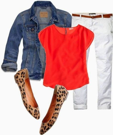 Love the outfit especially the jacket and top. Orange, white denim, denim jacket and leopard ballet flats. Perfect for a cool spring night. Schedule a Fix for gorgeous pieces like this, hand-selected just for you by your Stitch Fix Stylist! Mode Outfits, Casual Outfits, Fashion Outfits, Womens Fashion, Jean Outfits, Red Jeans Outfit, Red Top Outfit, Fashion Clothes, Outfits With Red Shoes