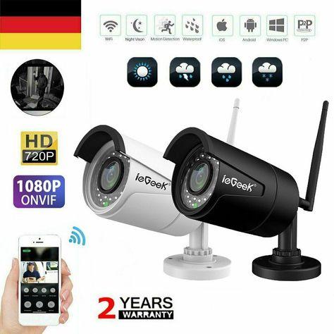 1080P//720P HD Kamera FUNK WLAN WIFI IP NETZWERK AUßEN ÜBERWACHUNGSKAMERA ONVIF