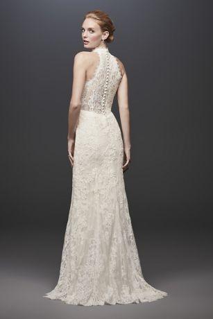 Linear Lace High Neck Halter Sheath Wedding Dress David S Bridal Petite Wedding Dress Wedding Dresses Halter Wedding Dress