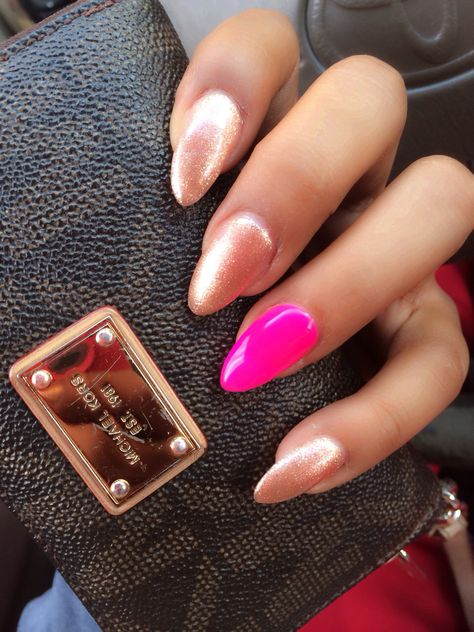 New claws. Stilettos. Pointy. Hot pink and gold glitter. Nail ideas.