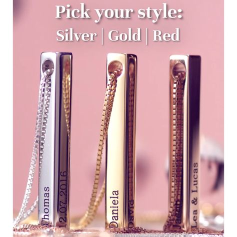 Personalized 3D Bar Necklace in Silver, Gold or Rose Gold plating - 35% OFF!
