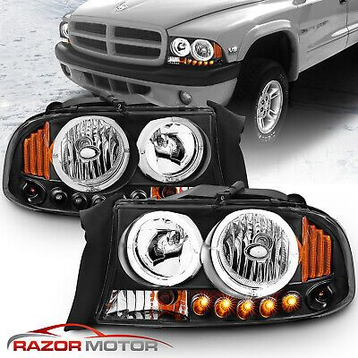 1998 03 04 Black Led Halo Headlights Corner Parking For Dodge Durango Dakota Dodge Durango Dodge Durango Lifted Dodge Dakota