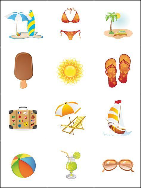 Memory Zomer Jeu De Memoire L Ete Jeux De Memoire Jeux De Logique Imagier Printemps Maternelle