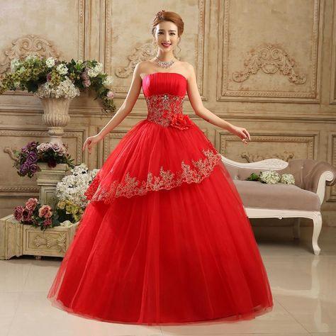 2016 Hot Sale Sweetange Korean Style Sweet Romantic Lace Princess Wedding  Dress Red Wedding Dress Wedding Dresses Websites Wedding Gowns Online  Shopping ... e831d1e05061