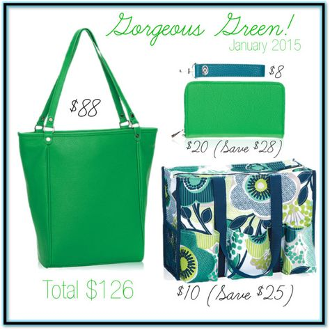 "Thirty-One Gifts - ""Gorgeous Green! #ThirtyOneGifts #ThirtyOne #Jewell by ThirtyOne #Monogramming #Organization #JanuarySpecial"
