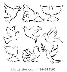 Abstract Flying Dove Sketch Set Vector Illustration With Images