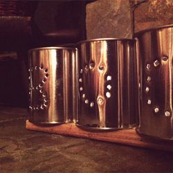 Old-fashioned tin can craft.