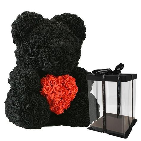 Rose Bear - 40cm black box