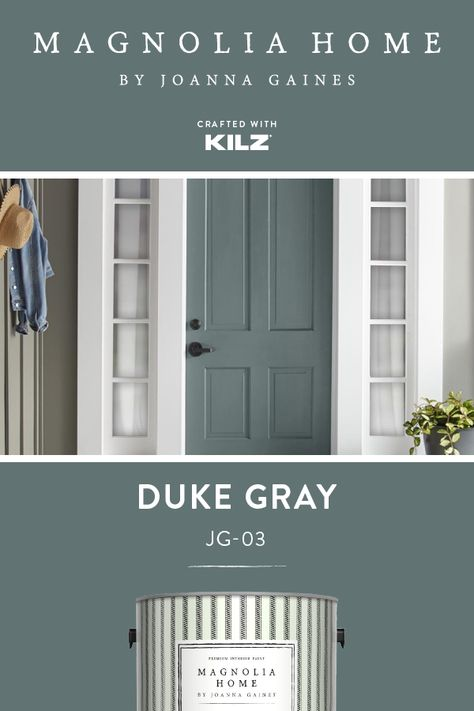 magnolia homes joanna gaines For a fun accent color that still fits in with your design aesthetic, turn to Duke Gray, from the Magnolia Home by Joanna Gaines paint collectio Front Door Paint Colors, Exterior Paint Colors For House, Paint Colors For Home, Magnolia Paint Colors, Magnolia Homes Paint, Exterior Gray Paint, Exterior Design, Grey Front Doors, Painted Front Doors