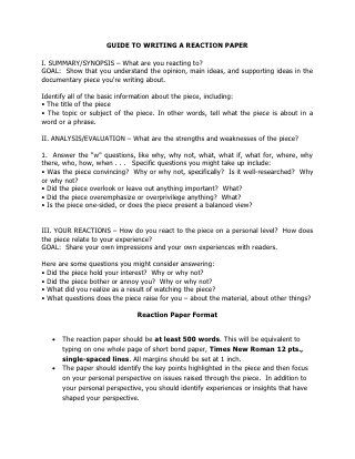 Guide To Writing A Reaction Paper Essay Format College Summary Response Essays