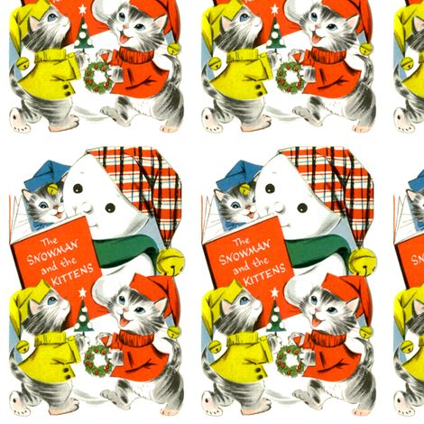 vintage kids retro kitsch cats kittens snowman hats christmas snow winter trees wreaths traditional children  fabric by raveneve on Spoonflower - custom fabric