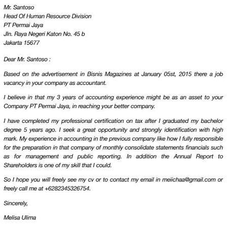 Contoh Surat Lamaran Kerja Bahasa Inggris Untuk Perusahaan