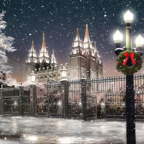 Salt Lake Temple Christmas Time Painting - Christmas at Temple Square and the Salt Lake Temple. Fine art painting by Brent Borup. Mormon Temples, Lds Temples, 3d Christmas, Christmas Lights, Outdoor Christmas, Vintage Christmas, Slc Temple, Lds Temple Pictures, Temple Square