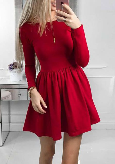 d90c4531f1 Red Pleated Round Neck Long Sleeve Tutu Homecoming Party Cute Mini Dress -  Mini Dresses - Dresses