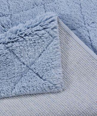 Tom Tailor Badezimmerteppich Cotton Pattern Diamond Hellblau Teppich Badezimmerteppich Rautenmuster