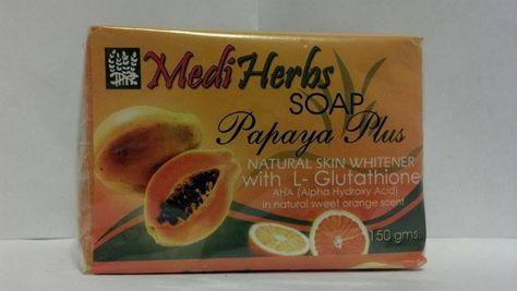 MEDI HERBS SOAP PAPAYA PLUS WHITENING/GLUTATHIONE 150 GRAMS #MEDIHERBS