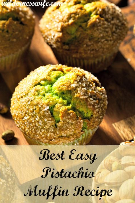 Delicious and easy moist pistachio muffin recipe is loaded with nutritious pistachio nuts. Pistachio Bread, Pistachio Muffins, Pistachio Recipes, Pistachio Pudding Muffin Recipe, Pistachio Cupcakes, Pistachio Dessert, Berry Muffins, Muffin Recipes, Breakfast Recipes