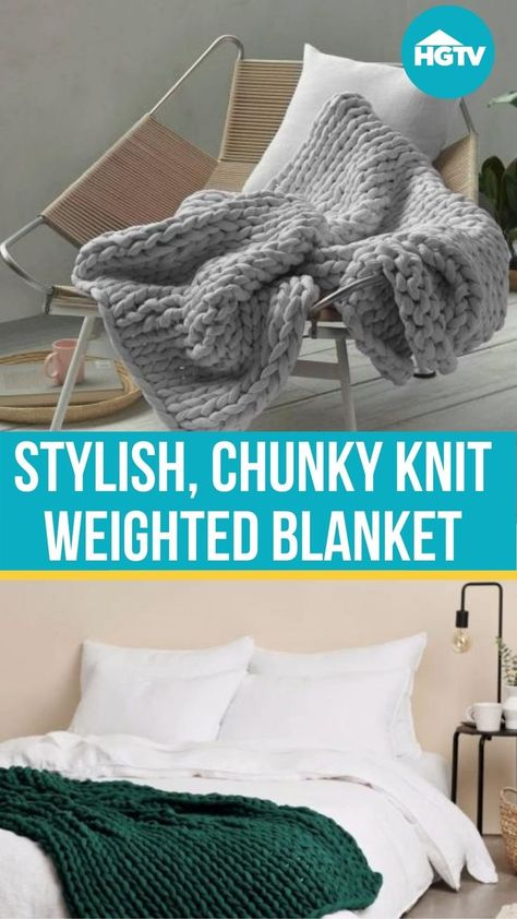 It feels like a comforting hug 🤗 and looks like those cozy chunky knit blankets all over the internet. Read our full review to find out why the HGTV editors are obsessed with Bearaby's Napper weighted blankets. 🛌