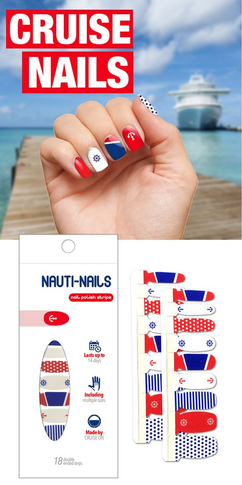 Cruise Nails - Nautical themed (red, white & blue with anchors & ship wheel) fingernail strips by CRUISE ON