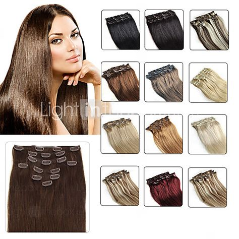 Clip In Human Hair Extensions 20 24 White Blonde 60 8pcs Set
