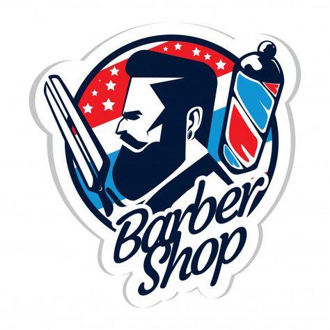 Barber shop logo Premium Vector