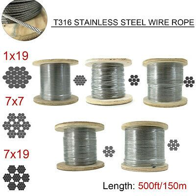 Ad Ebay T316 Stainless Steel Cable 1 8 3 16 Steel Wire Rope Cable 500ft Cable Railing In 2020 Cable Railing Stainless Steel Wire Stainless Steel Cable