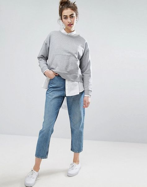 c2ad9a2811 Monki Taiki high waist mom jeans with organic cotton in light blue