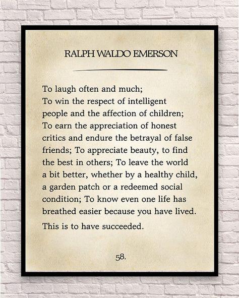 Ralph Waldo Emerson Print Ralph Waldo Emerson Quote Custom