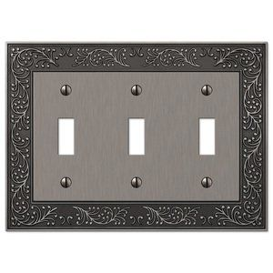 Amerelle Wallplates English Garden Triple Toggle Wallplate In Antique Nickel Plates On Wall Electrical Box Cover Metal Walls