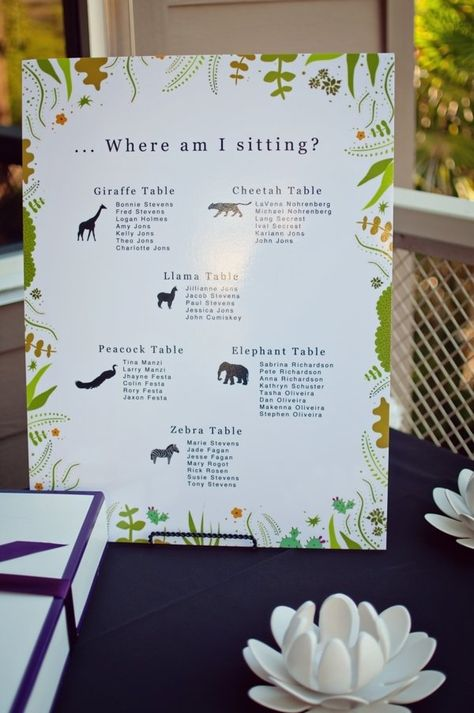 seating guide- I am not sure if you are really into this, but it would be a fun/ subtle way to incorporate the zoo. Maybe sea creatures?