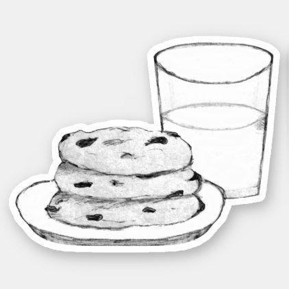Milk And Cookies Sketch Sticker Zazzle Com In 2021 Milk N Cookies Cookie Drawing Milk Drawing