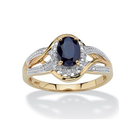 Palmbeach Jewelry 10k Yellow Gold Oval Blue Sapphire And Round Diamond Accent Crossover Ring Walmart Com Yellow Gold Sapphire Diamond Accent Ring Blue Sapphire Rings