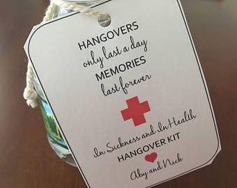Printable Hangover Kit Tags Hangover Kit Wedding Favours Hangover Kit Wedding Survival Kits